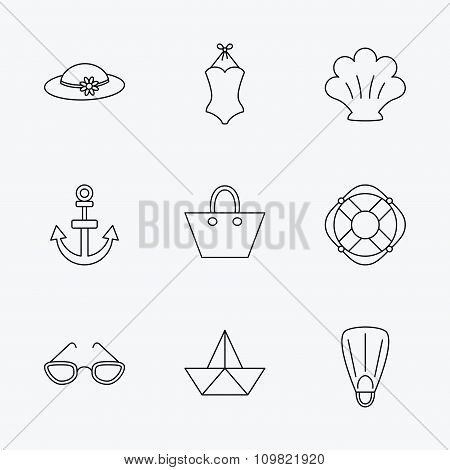 Paper boat, shell and swimsuit icons. Lifebuoy, glases and women hat linear signs. Anchor, ladies handbag icons. Linear black icons on white background. poster
