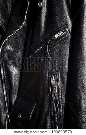 Close Up Of Traditional Black Classic Leather Motorcycle Jacket