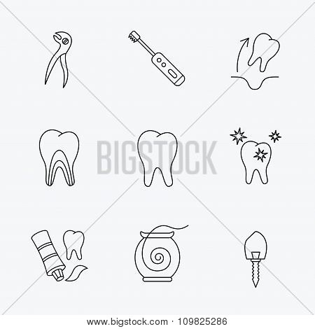 Tooth extraction, electric toothbrush icons.