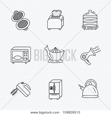 Microwave oven, teapot and blender icons.