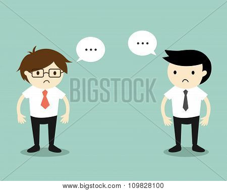 Business concept, Two businessmen feeling awkward with each other. Vector illustration.