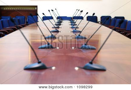 Microphones In Empty Conference Room