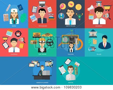 Set of great flat design illustration concepts for human profession, business concept, nurse, programmer, taxi driver, and much more. poster