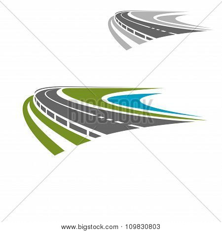 Long highway or road icon