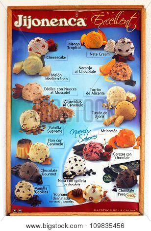 Ice Cream menu board, Spain.