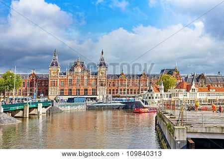 Amsterdam, Netherlands - September 15, 2015: Beautiful Buildings Amsterdam Central Station.(station
