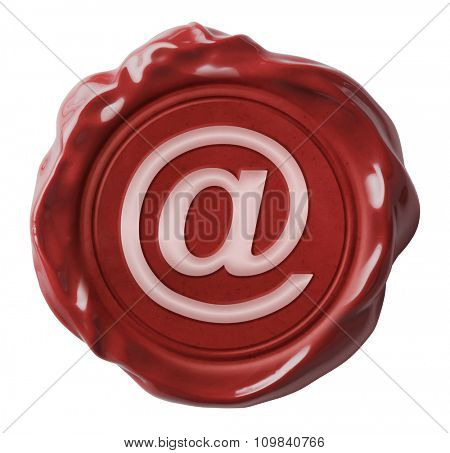 Red wax email seal icon isolated on white