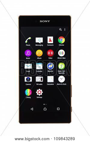 Varna, Bulgaria - November 25, 2015: Cell phone model Sony Xperia Z5