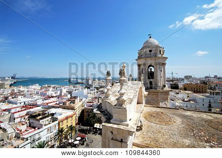 Cadiz Cathedral roof and city.