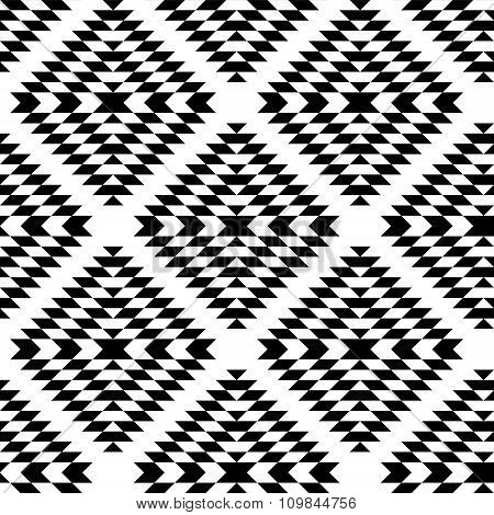 Black and white aztec ornaments geometric ethnic seamless pattern, vector