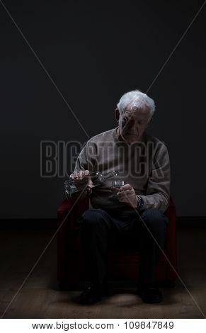 Elder Man Addicted To Alcohol