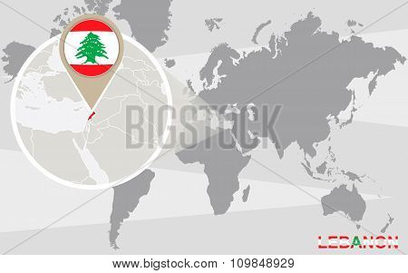 World Map With Magnified Lebanon