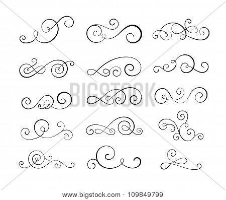Vintage flourish swirls