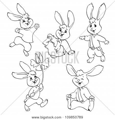 Coloring Book Or Page. Vector Set Of Rabbits.