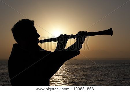 Trumpeter. Man playing on oboe against the background of sunset