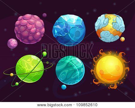 Cartoon fantasy alien planets set