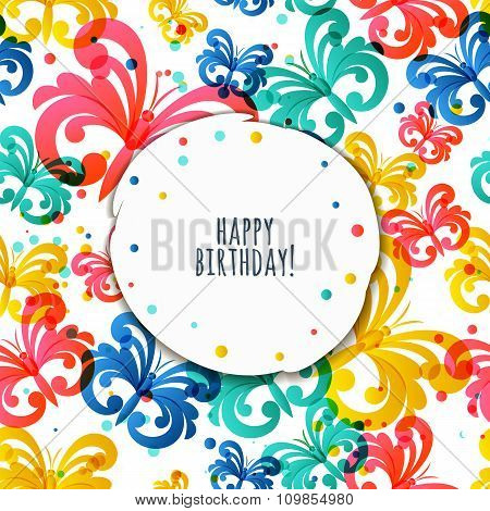 Vector Greeting Birthday Card Template With Flying Butterflies.