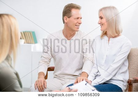 Adult couple during psychological therapy session