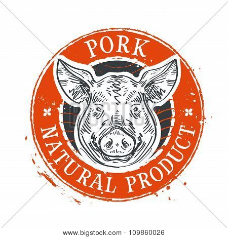 pig, swine vector logo design template. pork or farm icon