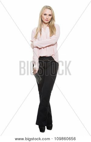 girl in pants and blous.  partial barrier formed by his hands. incomplete. Isolated on white backgro
