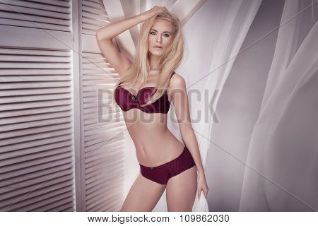 Sexy Blonde Woman In Lingerie.