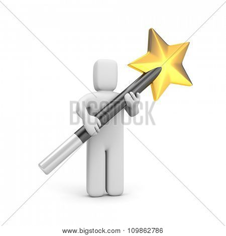 Person with magic wand