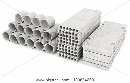 slabs of concrete on a white isolated background poster