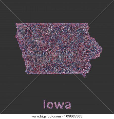 Iowa line art map