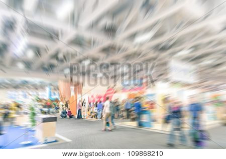Generic Trade Show Stand With Blurred Zoom Defocusing - Concept Of Business Social Gathering For Int