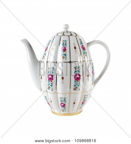Ceramic teapot with ornament of roses in retro style isolated on white