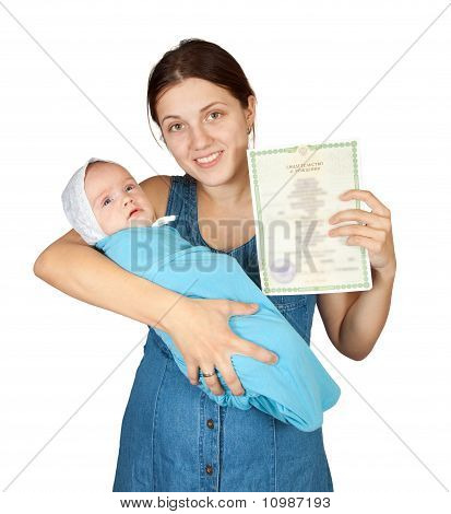 Happy Mother With  Baby And With Certificate Of Birth