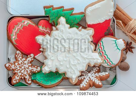 Iced cookies in a box.