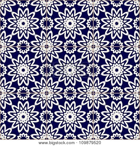 Seamless patchwork blue pattern Moroccan tiles ornaments. poster