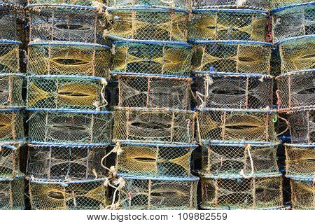 Colourful Stack Of Fish Crates On A Vessel