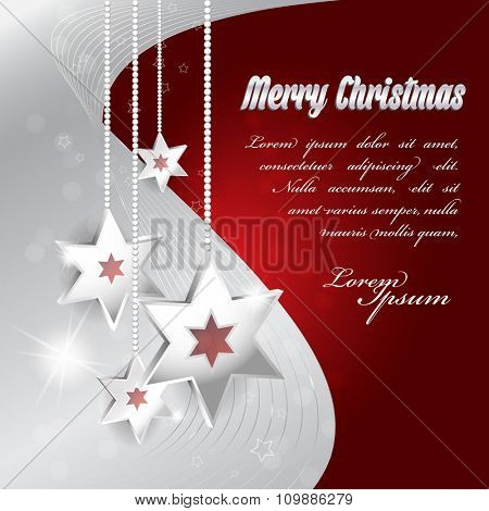 Vector red and gray Christmas background with Christmas decoration and bokeh effect