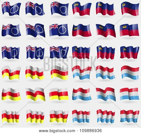 Cook Islands, Liechtenstein, North Ossetia, Luxemburg. Set Of 36 Flags Of The Countries Of The