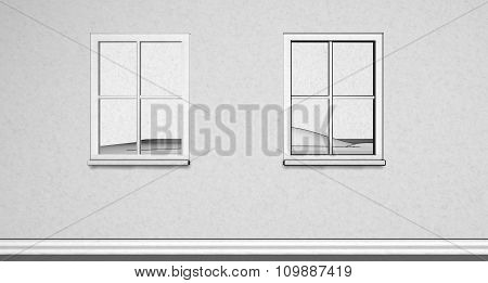 Simple Paper texture Illustration of 2 windows on wall  with outside view