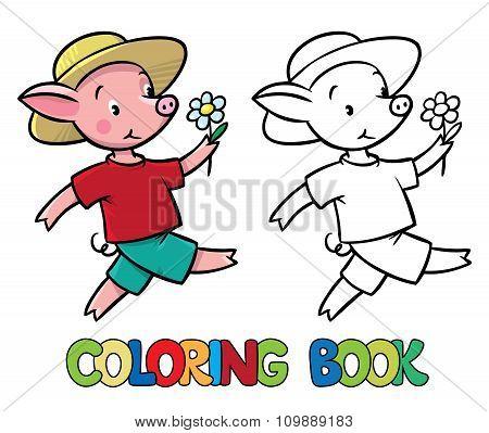 Walking little piglet coloring book