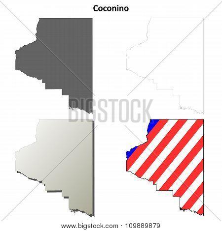 Coconino County, Arizona outline map set