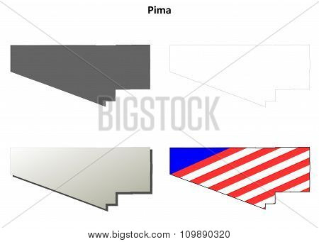 Pima County, Arizona outline map set