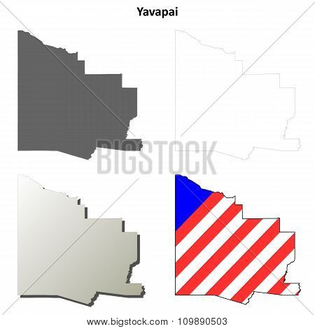 Yavapai County, Arizona outline map set