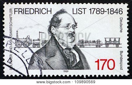 Postage Stamp Germany 1989 Friedrich List