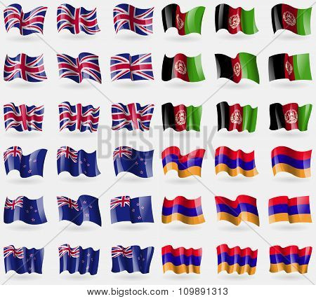 United Kingdom, Afghanistan, New Zeland, Armenia. Set Of 36 Flags Of The Countries Of The World.