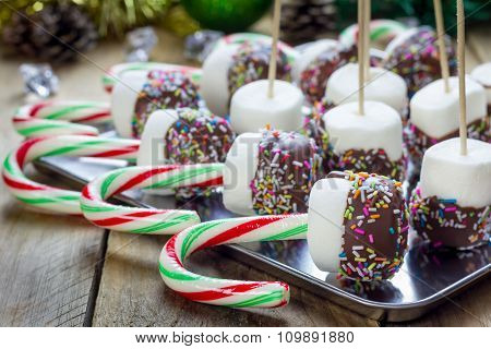 Homemade Sweetness With Candy Cane, Marshmallow, Chocolate And Sprinkles. Christmas Holiday Celebrat