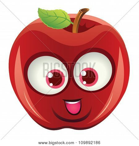 Apple With Fun Red Face Smiling