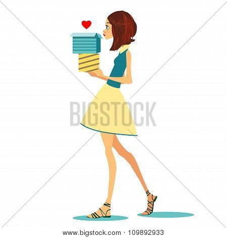 Girl with love box. Vector illustration for holiday cards