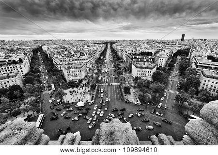 Paris skyline - avenue des Champs-Elysees. View from Arc de Triomphe, Paris, France. Black and white