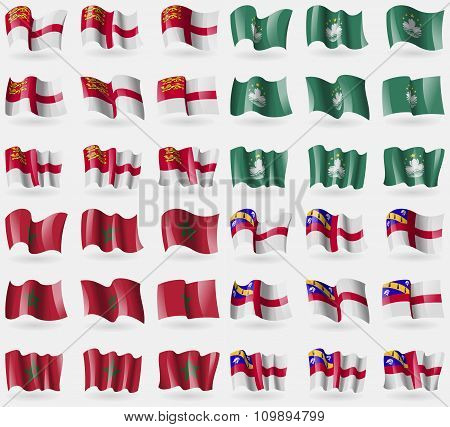 Sark, Macau, Morocco, Herm. Set Of 36 Flags Of The Countries Of The World.