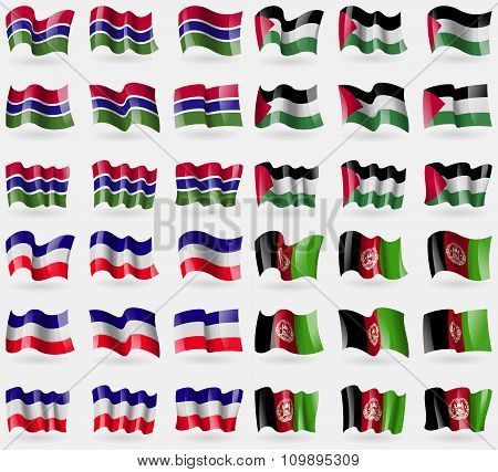 Gambia, Palestine, Los Altos, Afghanistan. Set Of 36 Flags Of The Countries Of The World.
