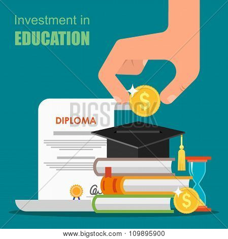 Invest in education concept. Vector illustration flat design. Stack of books, diploma and university
